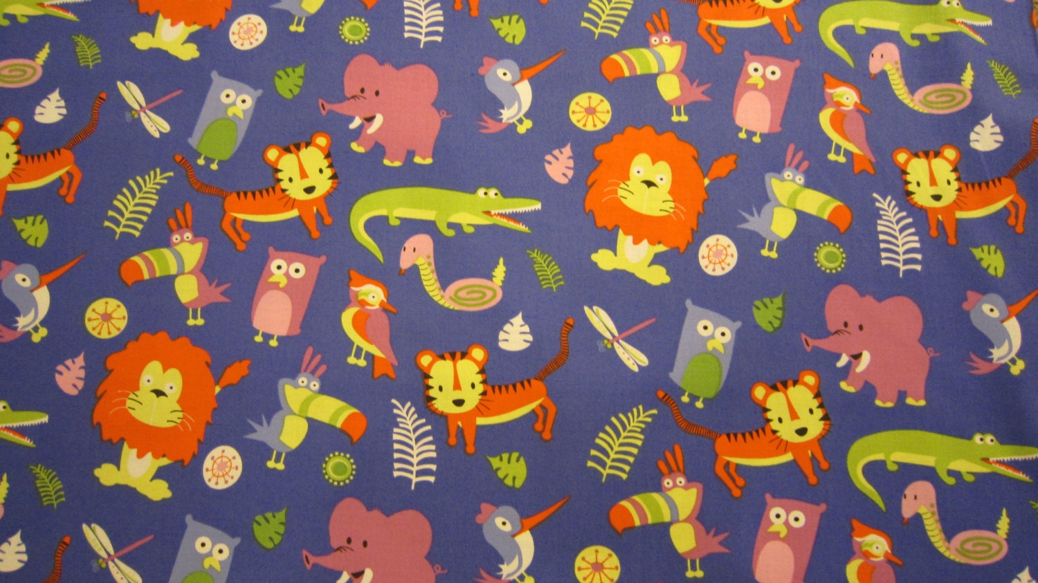 Blue jungle animal cotton fabric by michael miller out of for Childrens jungle fabric