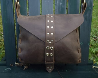CSherwoodLeather Handmade Messenger Handbag, Saddle Bag, Mail Bag, Brown Leather Purse,  Military Mail Bag with solid Brass two prong clasp.