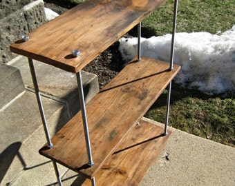 Reclaimed Wood Shelves Rustic Industrial Bookcase Made to Order