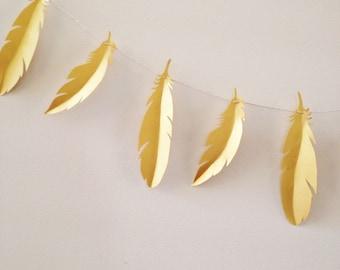 Feather Garland - Paper Feather Garland - Wild One Birthday - Boho Party Decor - Wild and Three - Tribal Theme - Bohemian - Boho Nursery