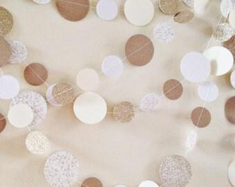 Neutral Garland - Christmas Garland - Gold Neutral Garland - White Cream Garland - Neutral Paper Garland - Patterned Garland