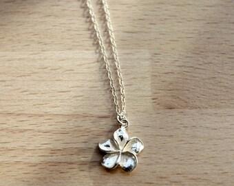 Hawaiian Necklace,  Hawaii Flower Necklace, Plumeria Jewelry, Hawaiian Flower Necklace, Tiny Hawaiian Flower Necklace,  Plumeria  Charm Tiny