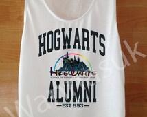 Hogwarts Alumni Shirt Womens, Custom Handmade Tank Top Screen Print Funny White Hogwarts Clothing Women Tee Hogwarts Alumni Tshirt Shirt SML