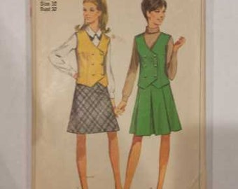 Vintage 60s Simplicity 7312 Vest and Two Skirts Pattern Size12 Bust 32