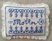 Mother Sachet Redwork Hand Embroidery Pattern, Instant Download, PDF, Betty Alderman Designs, Mother's Day Gift, Bluework