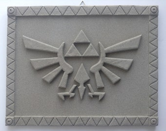 "Zelda - Hyrule Crest - Stone Textured Carving - Wall Display 12.5"" (32cm)"