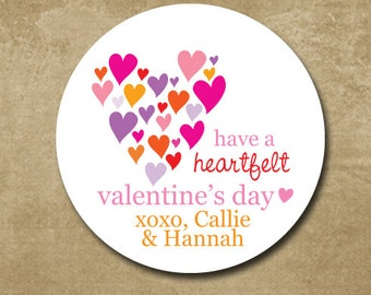 Multi Heart Valentine Day Stickers, Classroom Treat Bag Labels, Personalized Heart Stickers for Valentine's Day, Girl Valentines