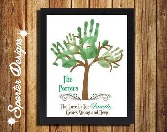 Family Tree Handprint Gift Wall Art -DIY- Digital - Custom
