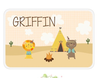 Tribal Friends Activity Placemat - Personalized Double-Sided Children's Placemat - Tribal Native Lion Placemat - Bear Placemat