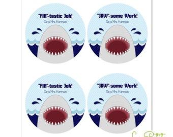 """Shark Teacher Stickers - 2"""" Round Stickers - Round Favor Stickers - Teacher Stickers - Shark Sticker Sheets - Sticker Sheets"""