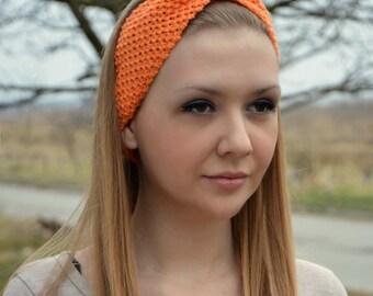 Coral orange headbeans, Hand knitted headband, Ear warmer