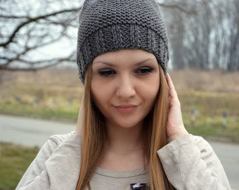 Grey womens pompon hat, Hand knitted hat, Winter hat