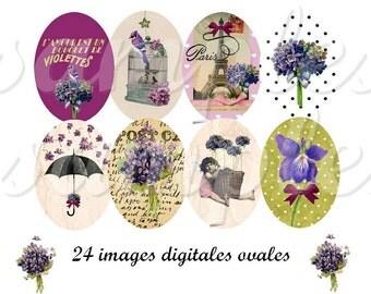 Flowers  violet - oval image,  design for pendant, scrapbooking and bottle cap printable, vintage collage instant download,flower