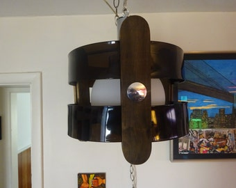 Danish Modern Smoked Lucite and Orb Space Age Swag Lamp - FREE SHIPPING