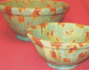 Reduced! Sweet  Colorful  Ceramic Bowl  Pair.