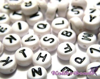 100x Mixed Round Acrylic Alphabet Beads, A to Z Letter Beads 7mm