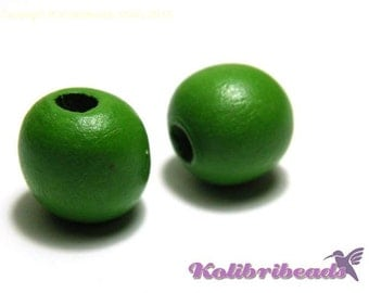 10x Round Wooden Beads 16 mm - Green