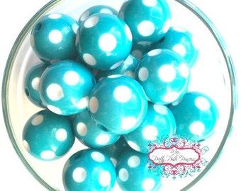 20mm Teal (Turquoise) Polka Dot Chunky Bubblegum Beads Set of 10