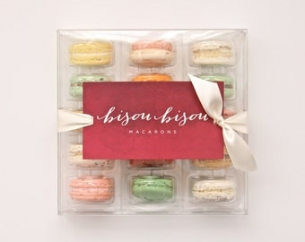 Signature Collection 15 Assorted Edible Macarons Gift Boxed Best French Macaron Bisou Bisou