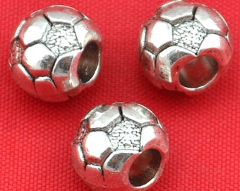 9x10mm-20pcs Antique Silver Round Spacer Bead Charm football Jewelry Findings ---G1527