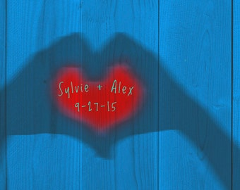 Personalized Wedding Gift Heart Hands Shadow Name Photograph Names Photo Anniversary Valentines Day Invitation pp38
