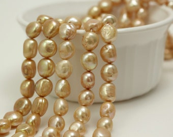 Champagne 10 - 11mm Pearls, Freshwater Cultured Pearl Beads, nicely shaped baroque pearls, 16 inch strand, #7940
