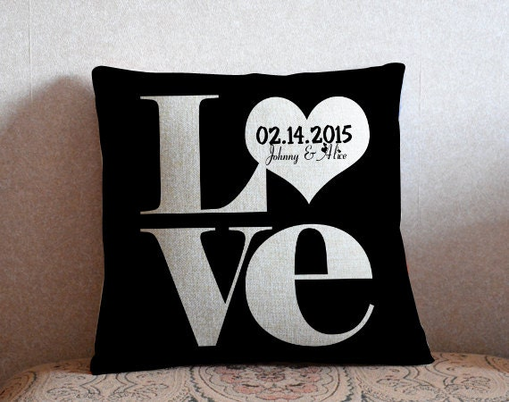Love pillow cover,custom black couple cushion case,linen throw pillow,gift for her,wedding decor,Valentine gift,home decor,birthday gift 18""