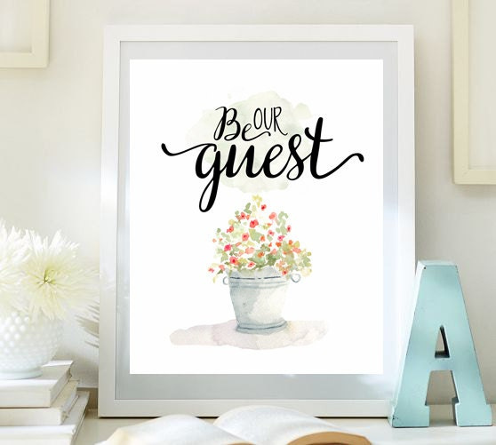 Be our guest print guest room decor wedding table sign for Instant interior wall