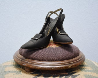 Black Buckled Sling-back Stilettos