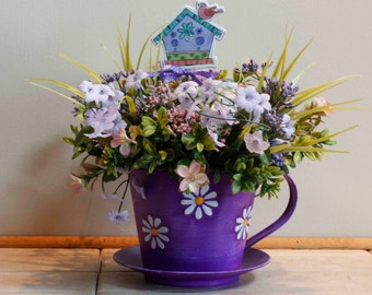 Purple Cup and Saucer with Bird Floral Arrangement (Item 209)