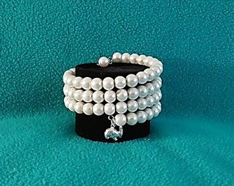 Pearl Memory Wire Cuff Bracelet with Silver Rabbit
