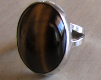 Sterling Silver and Tiger's Eye Ring Size 3