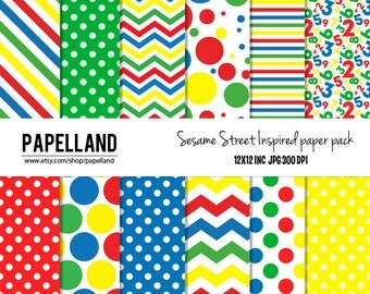 Sesame Street inspired digital paper pack  for scrapbooking, Making Cards, Tags and Invitations / Instant Download