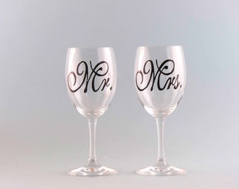 Hand Painted Wedding Wine Glasses - Mr. and Mrs. Wine Glasses - Wedding Gift - Simple yet Elegant!