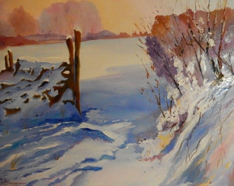 Large Landscape Painting, Rustic Field Scene, Snow Painting, Winter Art, Oil Painting
