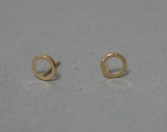 10K Gold Line Circle stud earrings, solid Gold, 10k real Gold - TG048