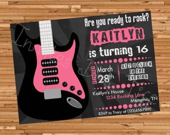 Guitar Birthday Invitation (Many Colors Available!) (Printable)