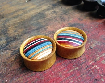 Wooden Plugs with Limited Edition BUBBLE CAB Skateboard Inlay