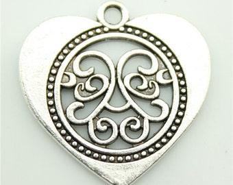 10pcs 27×27mm heart charms antique silver tone pendant
