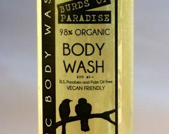 Burds of Paradise Organic Body Wash 200ml Vegan No SLS, Parabens or Palm Oil