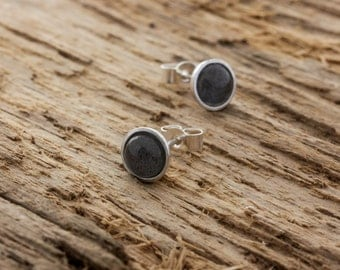 Labradorite Earrings - Labradorite Stud Earrings - Grey Studs - Grey Labradorite Stud Earrings - Sterling Silver Labradorite Post Earrings