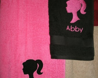 Personalized Barbie  Bath & Hand Towel Set Barbie Head