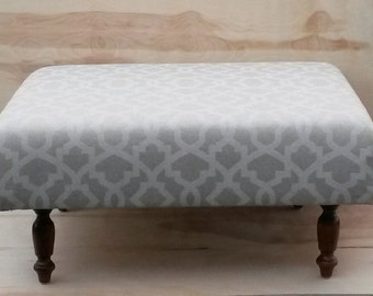 Upholstered Ottoman Coffee Table - Tan and Cream