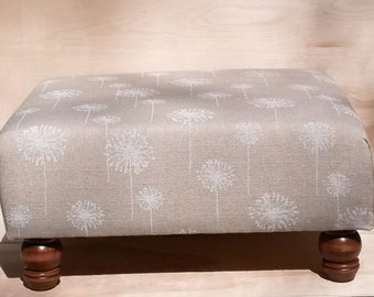 Upholstered Ottoman Coffee Table - Tan and Cream Dandelions