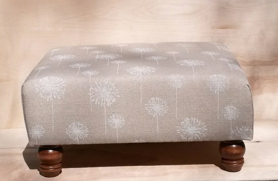 Items Similar To Upholstered Ottoman Coffee Table Tan And Cream Dandelions On Etsy