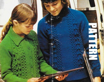 Knitting Pattern, Kids Knitted Lumber Cardigan and Polo Sweater, Children's Hand Knits, PDF Instant Download, 50% OFF JUNE