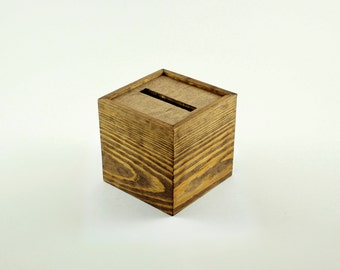 """Collection Box Voter Ballot Box Fundraiser Wedding Church Donation Comment Box (5""""x 5""""x 5"""" Collection Box. Stained Special Walnut)"""
