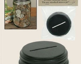 Lid for creating a Coin Bank - using a Mason Jar - standard mouth lid