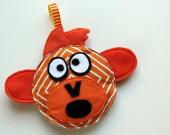 Dangling Baby Toy - Carseat Toy - Stroller Toy - Plush Monkey - Orange