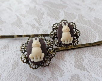 A Set of 2 Ivory on Chocolate Briar Patch Bunny Hair Clip